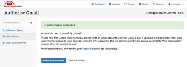 Gmail archiving